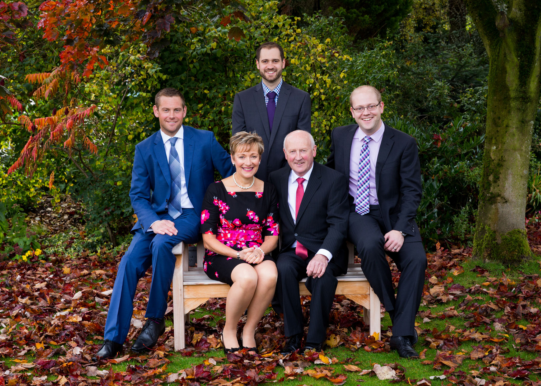 A formal family portrait to mark a ruby wedding in Cheshire