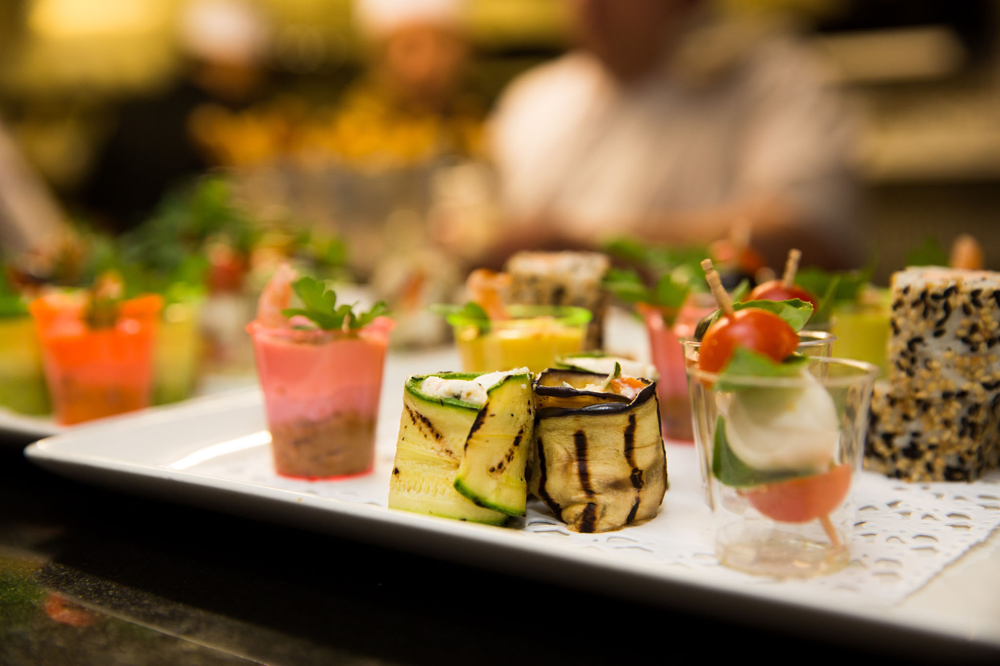 Canapes at a ruby wedding at Colshaw Hall, Knutsford, Cheshire