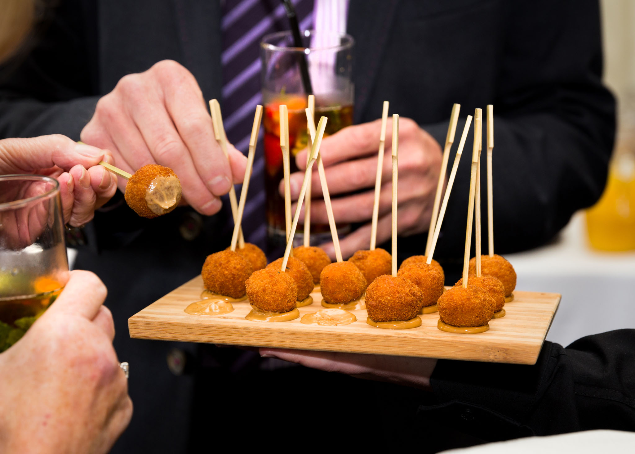 guests enjoying canapés at Colshaw Hall, Knutsford, Cheshire