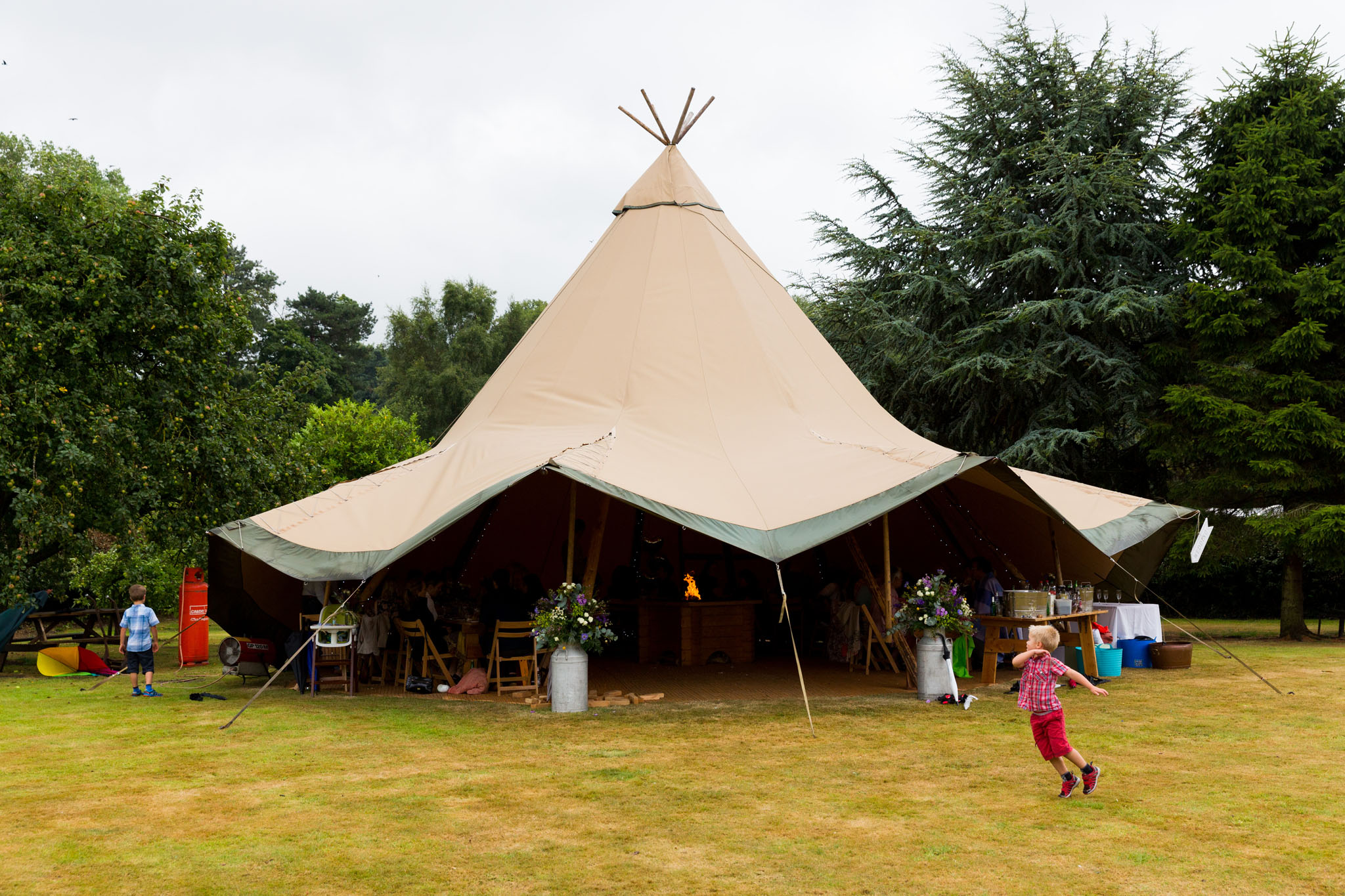 A family celebration in a teepee in Crewe Green in Cheshire