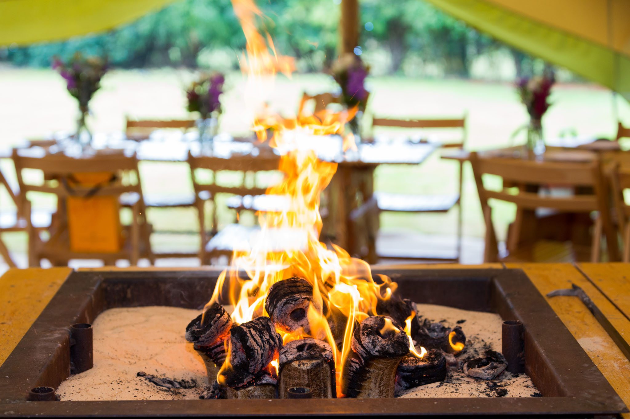 Fire pit at a family celebration in a teepee in Crewe Green in Cheshire