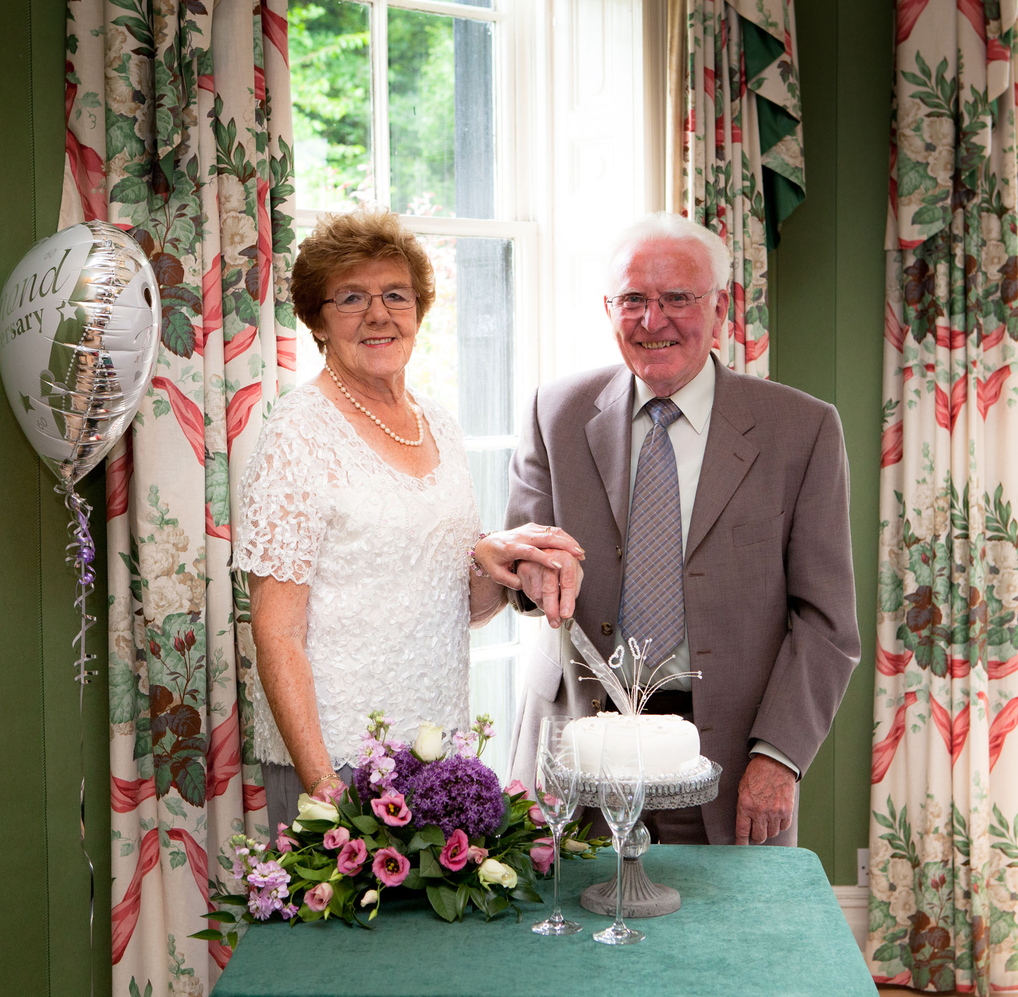 A Cheshire couple celebrate their diamond wedding at Statham Lodge, Lymm, Cheshire