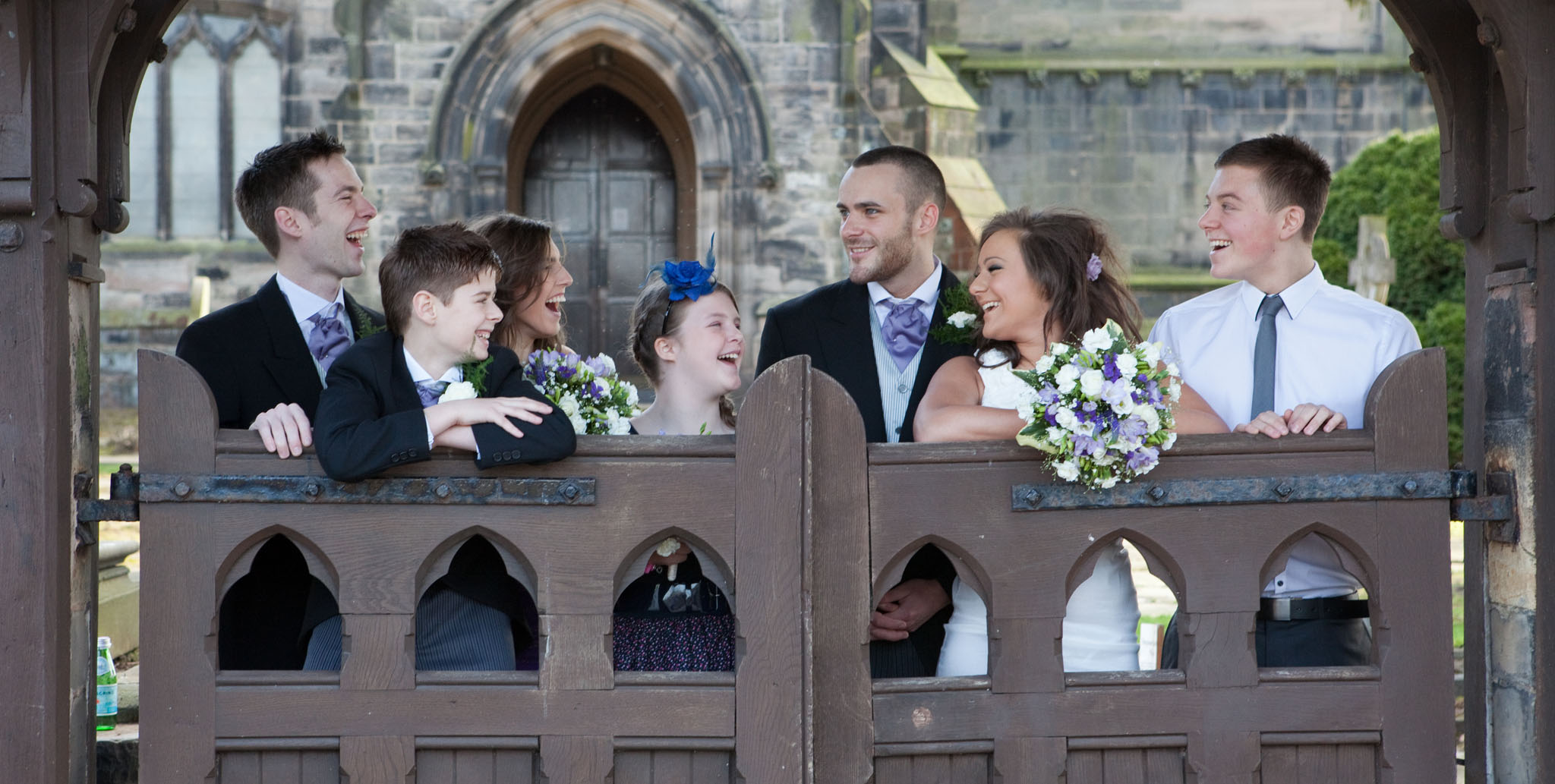 Children at a church blessing for a silver wedding in Lymm, Cheshire