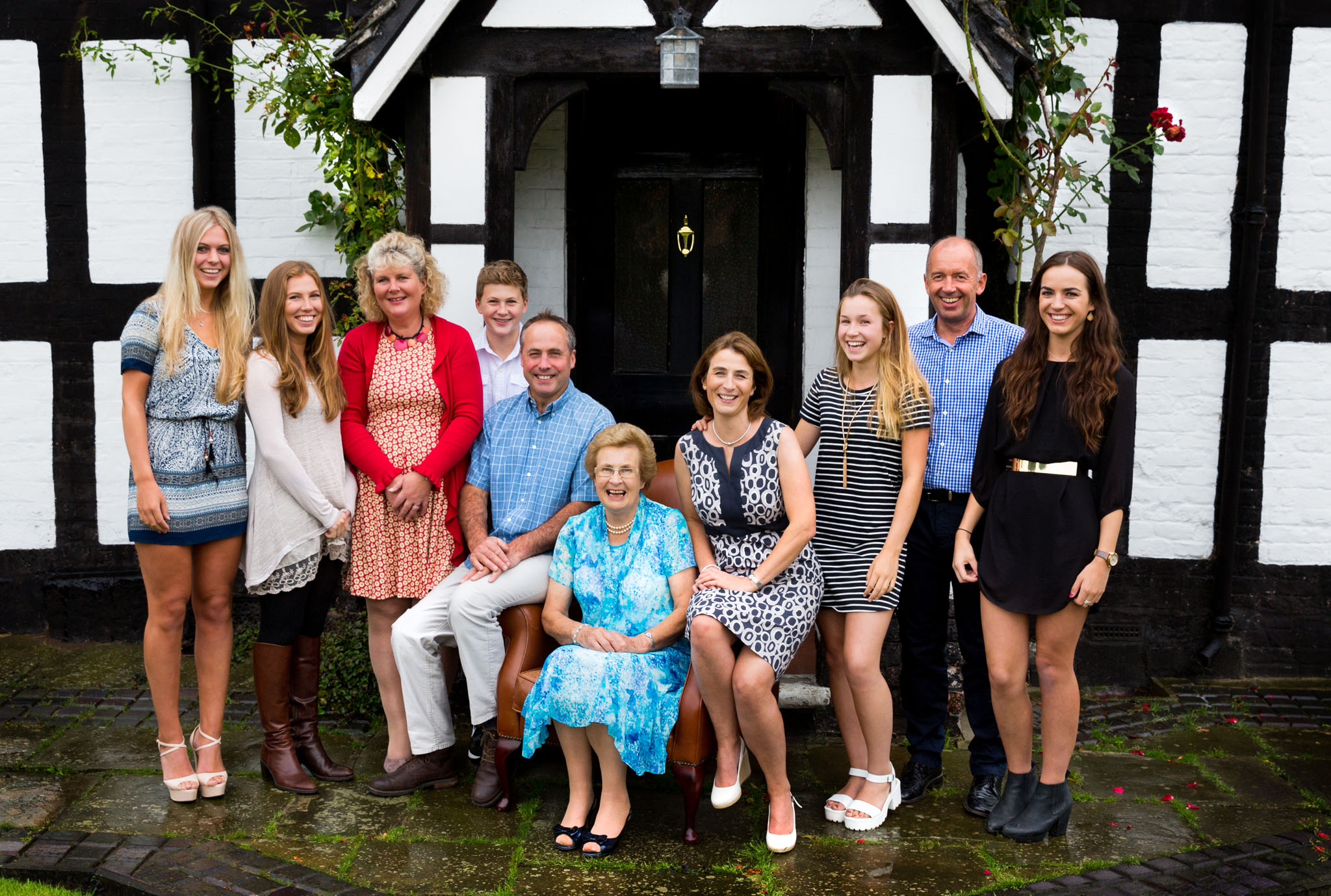 A family portrait photograph in Holmes Chapel, Cheshire to mark an 80th birthday.