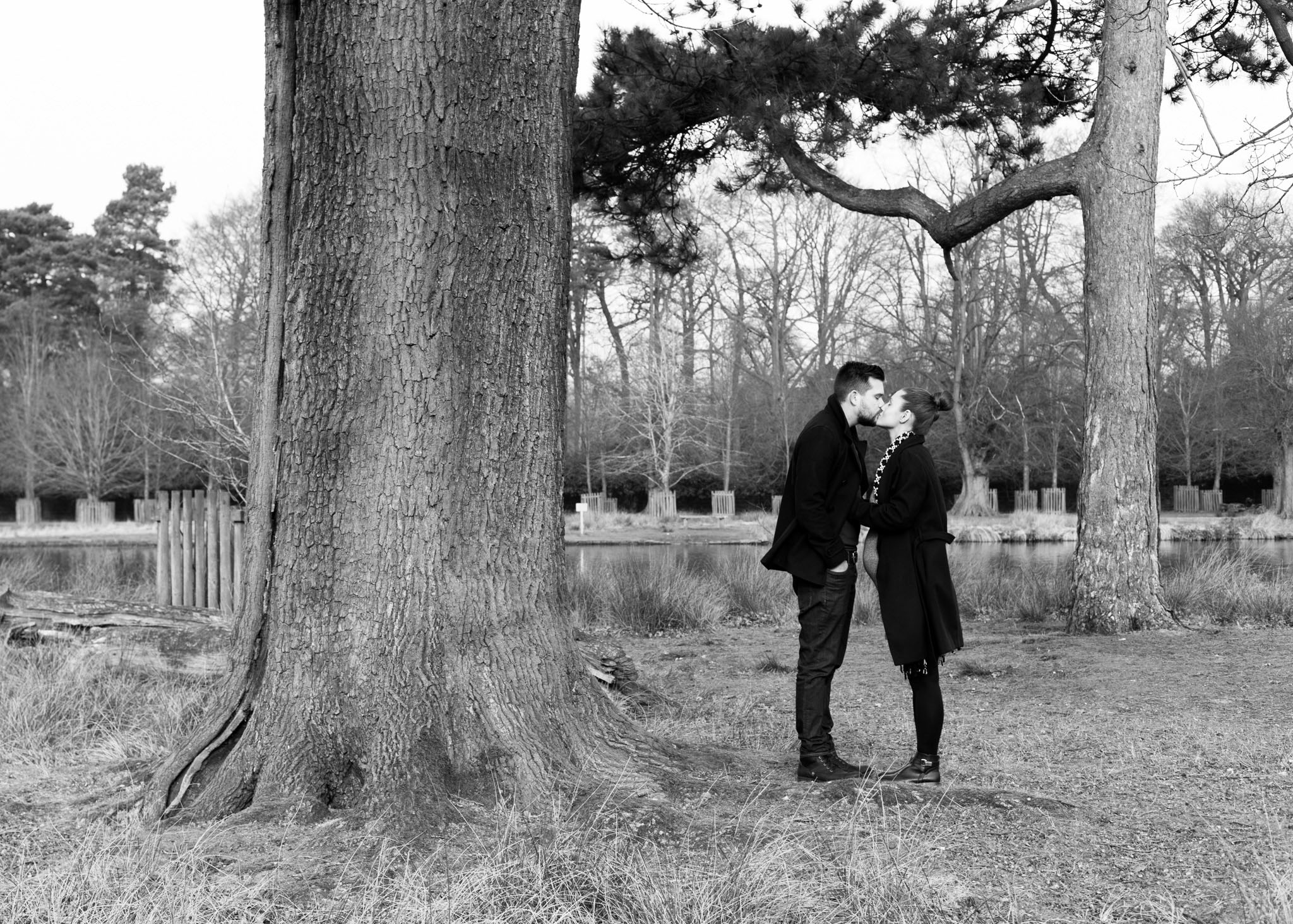 A portrait photograph of a young couple expecting their first child in Cheshire