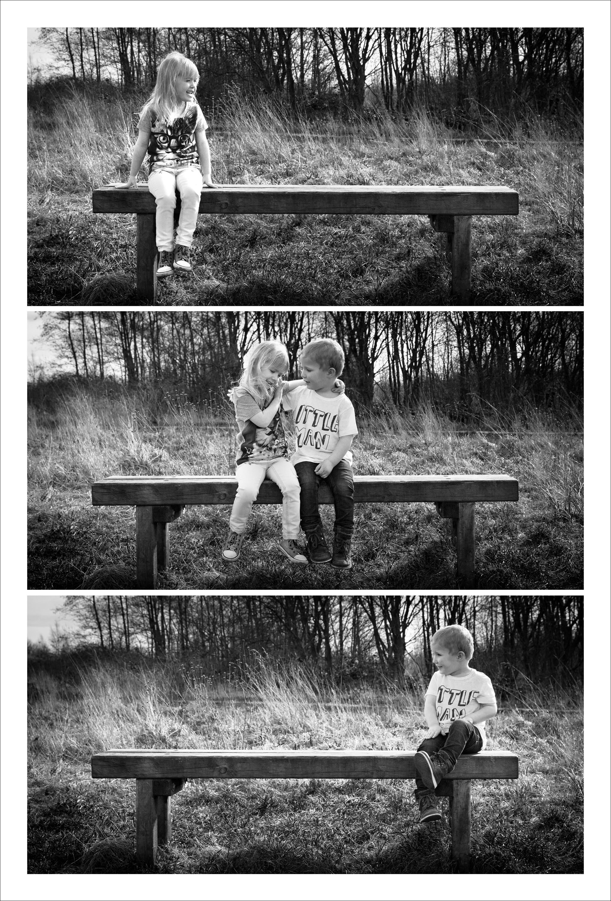 Family portrait photography of two children sat on a bench in a country park near Wigan