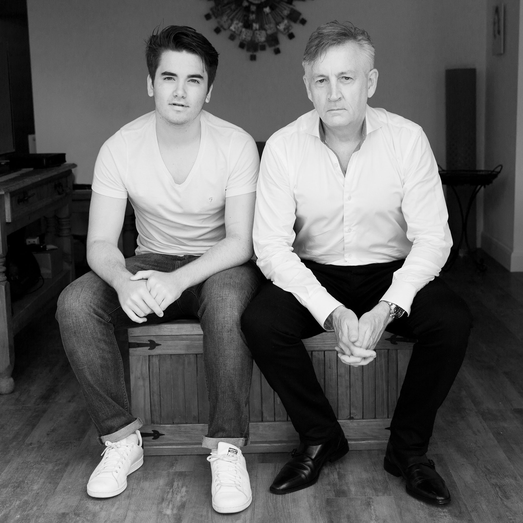 Lifestyle family portrait photography of a father and son in Wilmslow, Cheshire