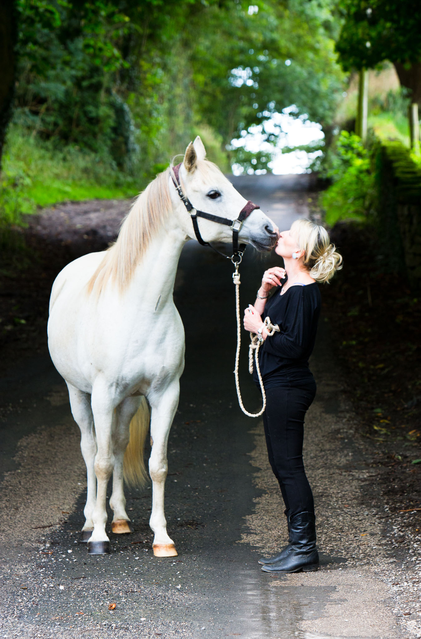 Equine portrait photograph of horse and owner taken near Lancaster by Cheshire based horse photographer, Andrew Collier Photography