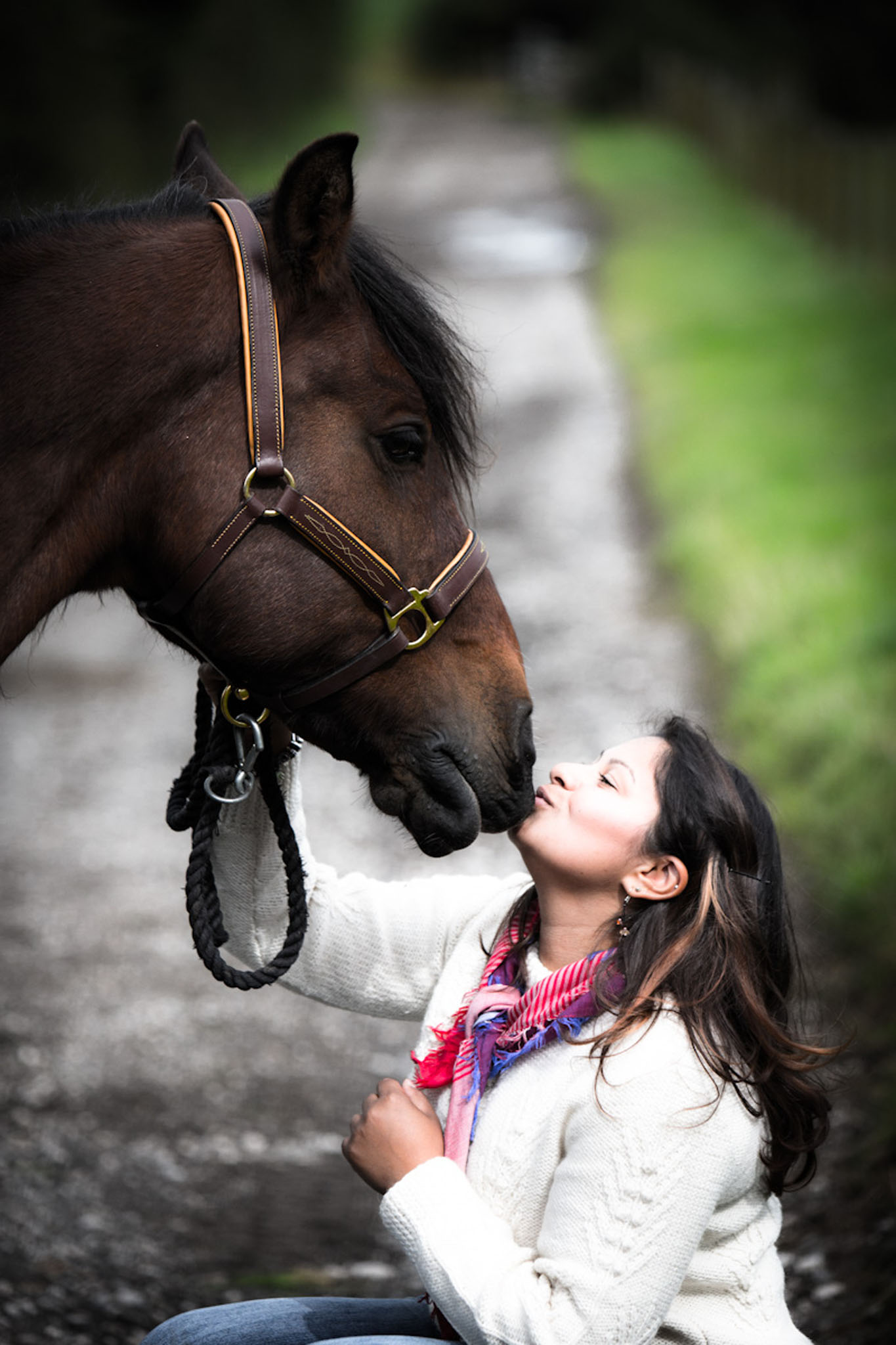 Portrait photograph of a young woman with her horse near Lancaster by Cheshire based horse photographer, Andrew Collier Photography