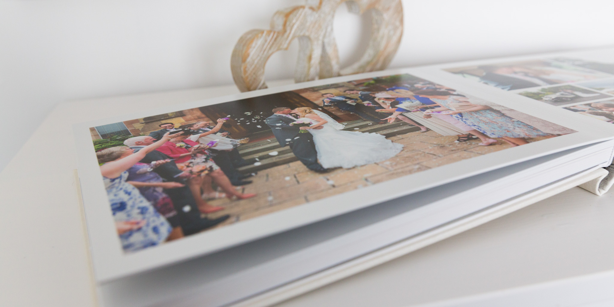 A spread from a Queensberry panoramic wedding album