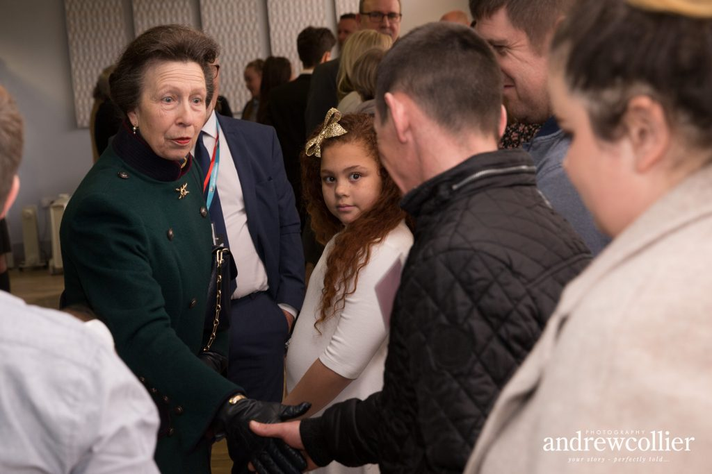 HRH The Princess Royal meets families of victims of the 1993 Warrington bombing at the Tim Parry & Johnathan Ball Peace Foundation in Warrington, Cheshire
