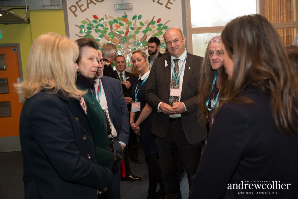 HRH The Princess Royal chats to staff at the Tim Parry & Johnathan Ball Peace Foundation