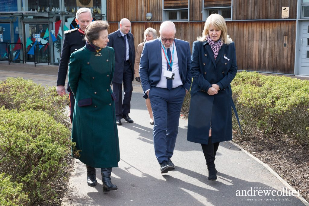 HRH The Princess Royal with Wendy & Colin Parry at the end of her visit to the Tim Parry & Johnathan Ball Peace Foundation