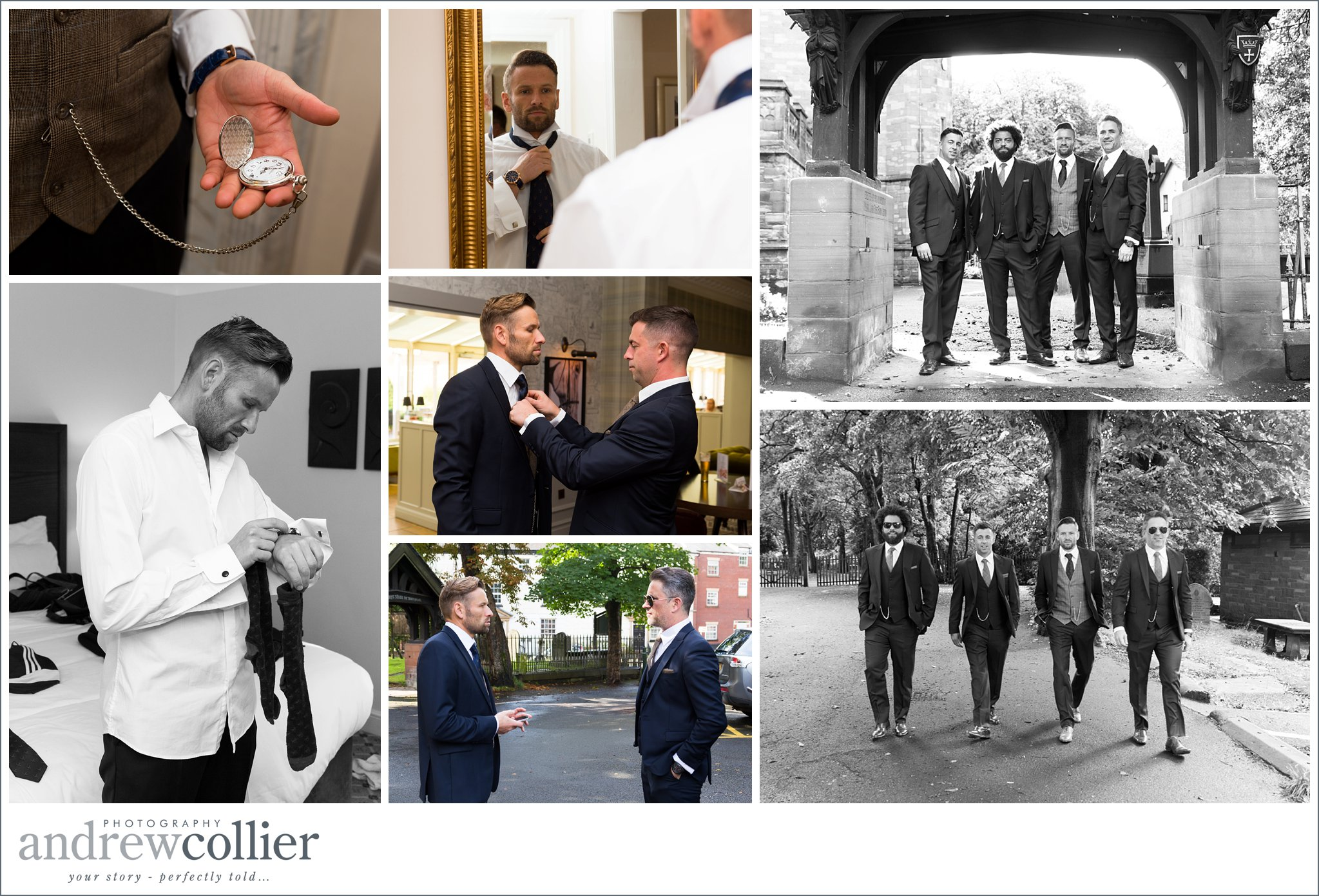 Photographs of the groom and his chosen men