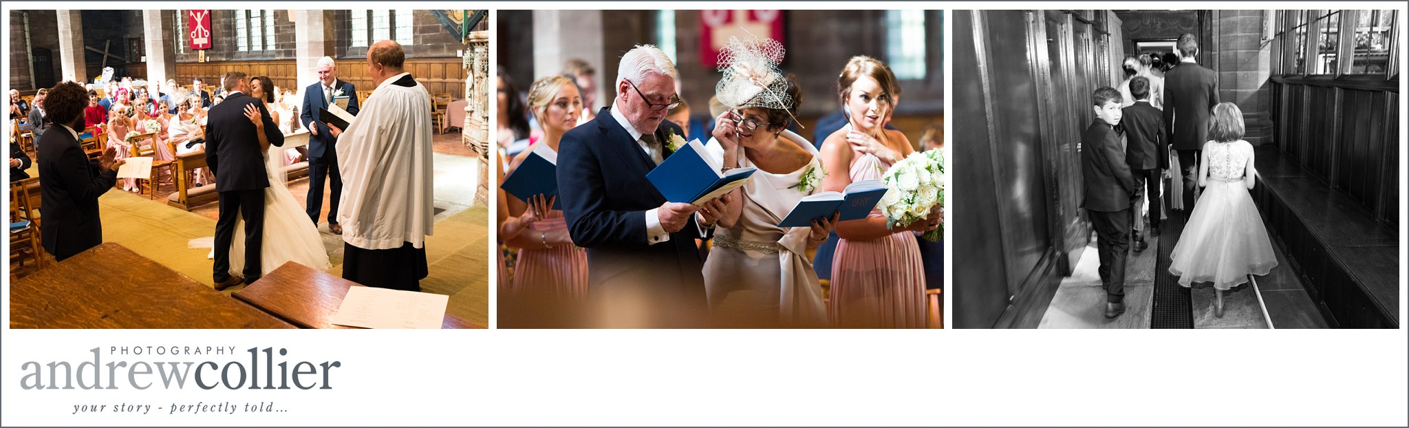 Informal wedding photography in in Church using available light