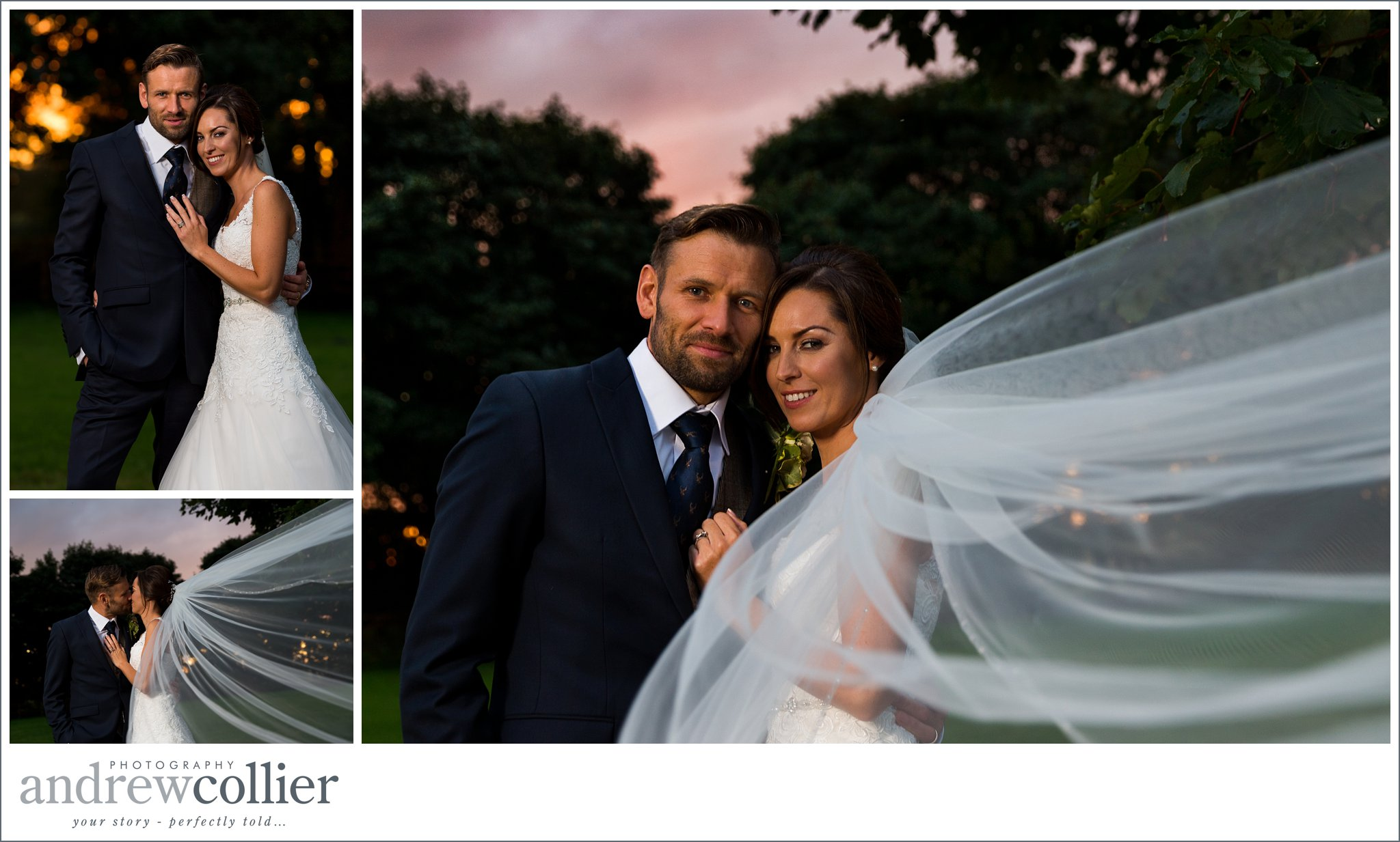 Statement wedding photographs at sunset by Andrew Collier Photography