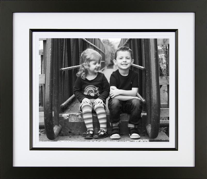 Bespoke framed black and white family portrait