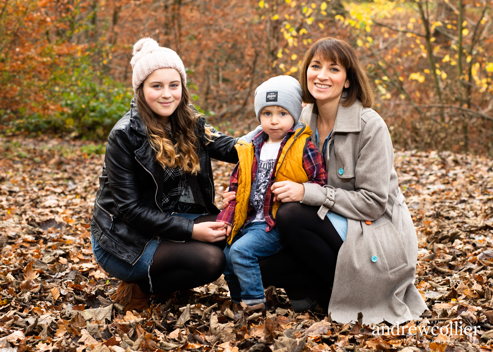 Portrait of a young family. Autumn, Warrington, Cheshire