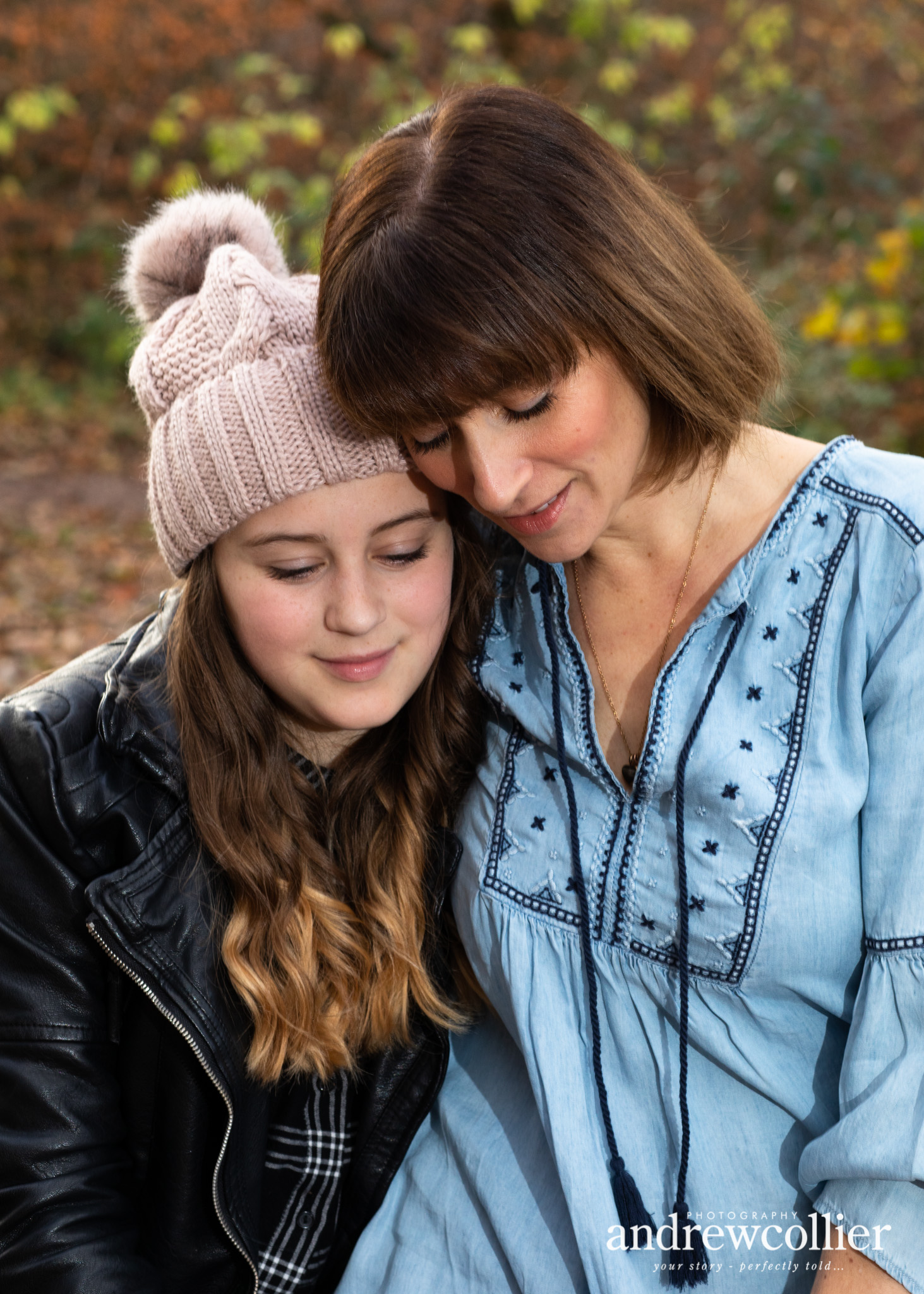 Portrait of a mum and her daughter in Autumn, Lymm near Warrington, Cheshire