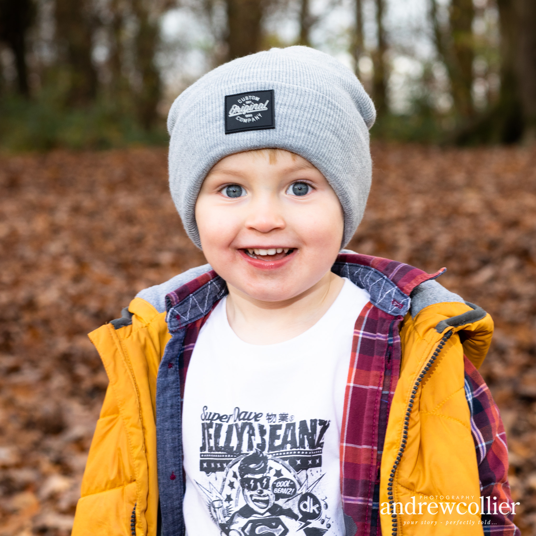 Portrait of a young boy by Lymm Dam in Autumn, near Warrington, Cheshire