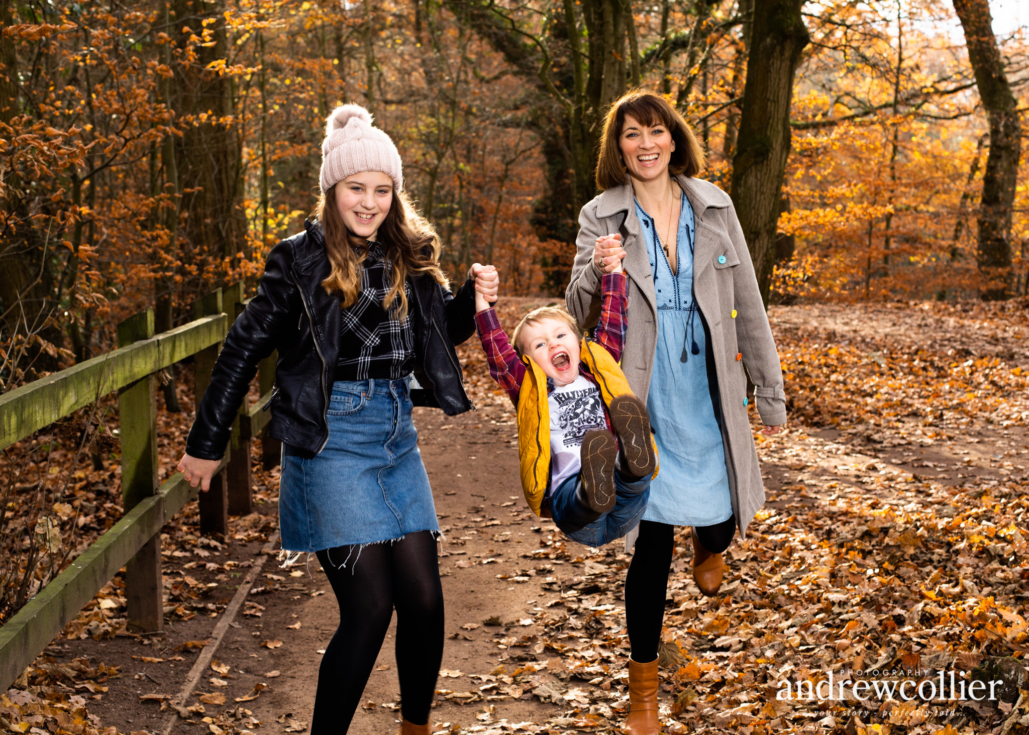 Portrait of a young family in Autumn, Lymm near Warrington, Cheshire