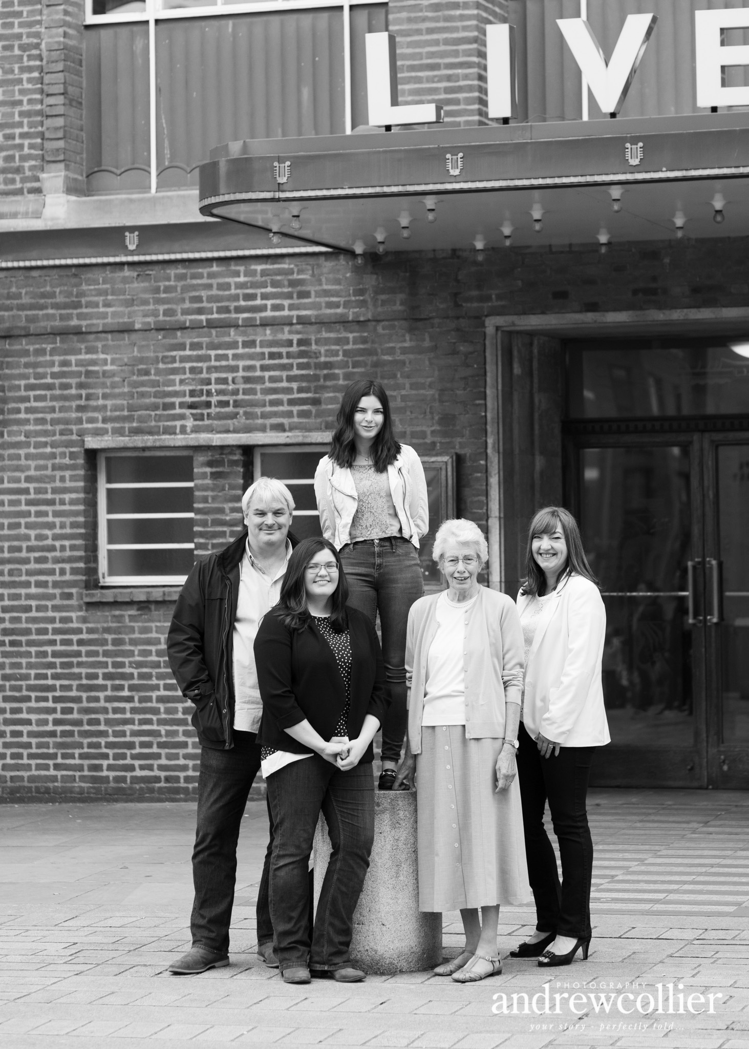 Black and white family portrait, Philharmonic Hall, Liverpool