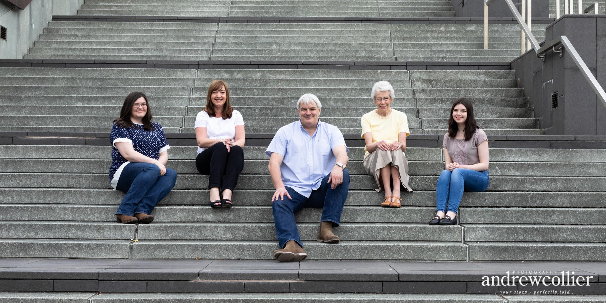 Colour family portrait, Metropolitan Cathedral steps, Liverpool