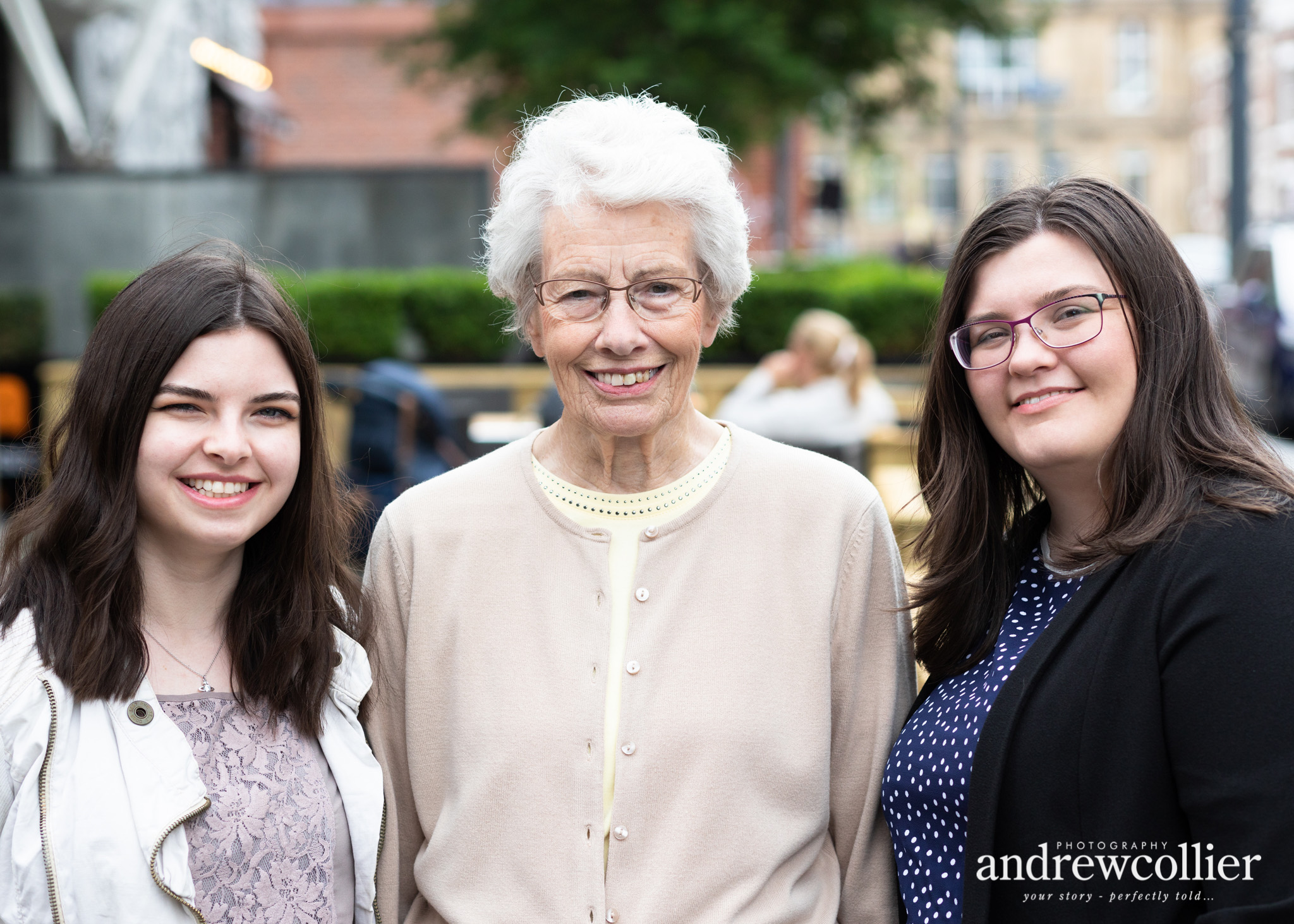 Urban family portrait of Grandmother and granddaughters in Liverpool